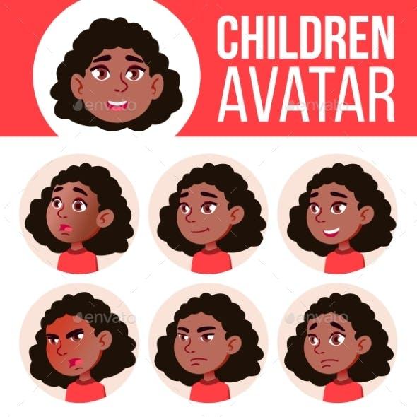 Girl Avatar Set Kid Vector. Black. Afro American