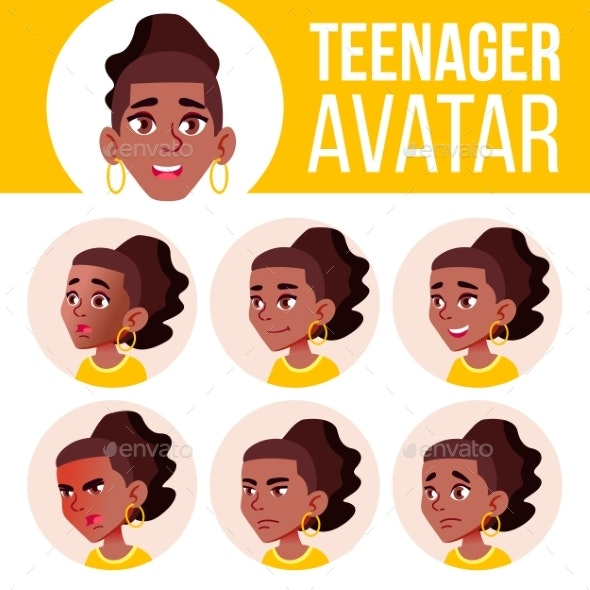 Teen Girl Avatar Set Vector. Black. Afro American - People Characters