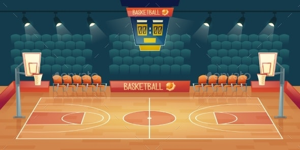 Vector Cartoon Background of Empty Basketball - Backgrounds Decorative