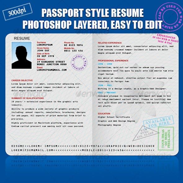 RESUME/CV PASSPORT STYLE
