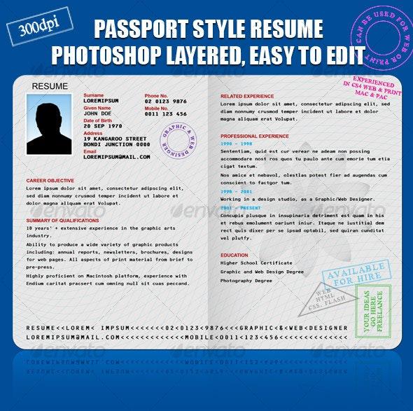 RESUME/CV PASSPORT STYLE - Resumes Stationery