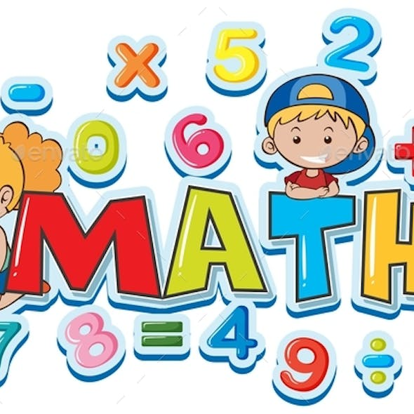 Font Design For Word Math With Many Numbers And Kids