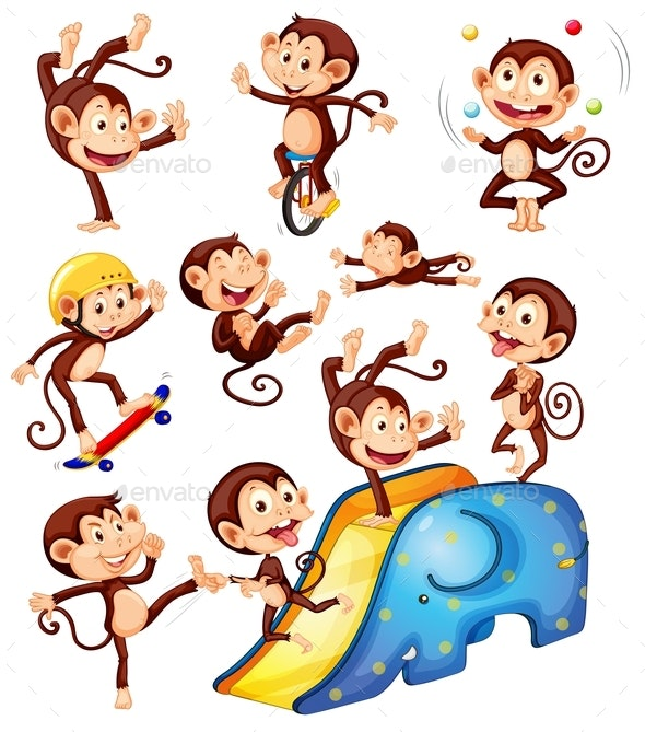 A Set Of Monkey Character - Animals Characters