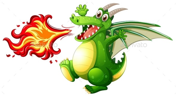 A Green Dragon Fire - Animals Characters