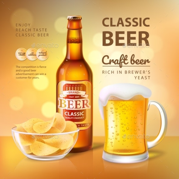 Classic Craft Beer Poster Vector Illustration - Food Objects