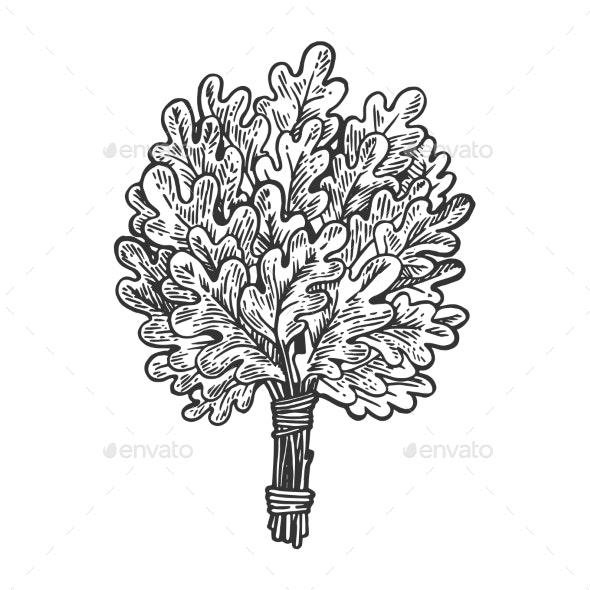 Oak Broom for Sauna Engraving Vector Illustration - Flowers & Plants Nature