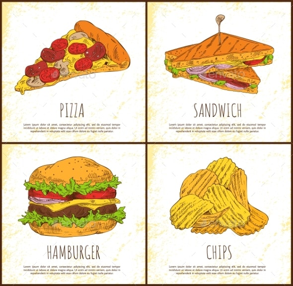 Pizza Sandwich Hamburger and Chips Appetizer Set - Food Objects