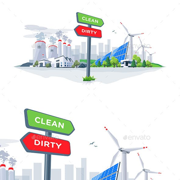 Comparing Clean Renewable and Dirty Polluting Energy