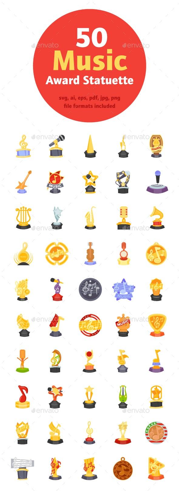 50 Music Award Statuette Vectors - Icons