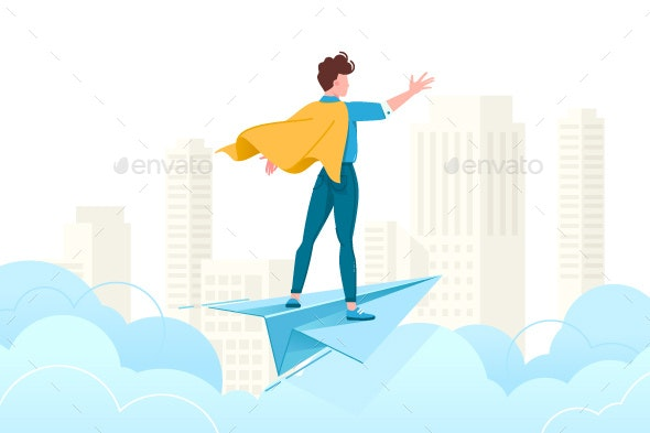Young Man Conquering World with His Mind - Miscellaneous Vectors