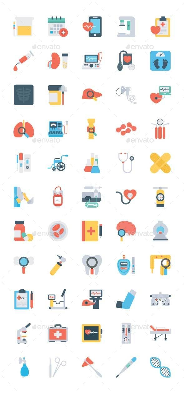 55 Health Checkup Flat Icons - Icons