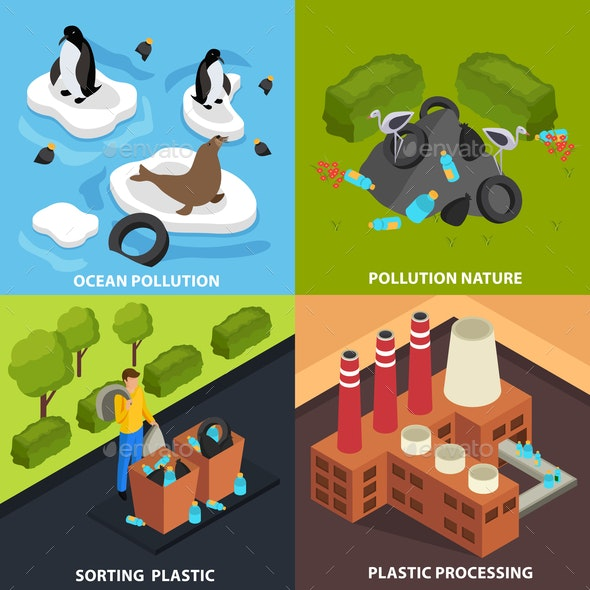 Isomteric Pollution Design Concept - Industries Business