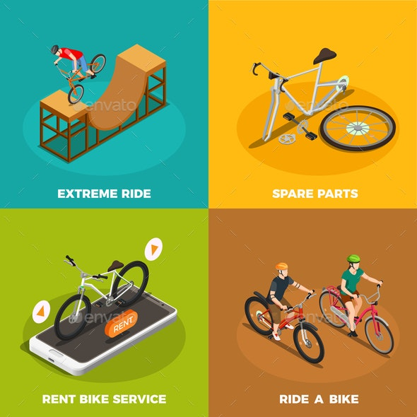 Bicycles Isometric Design Concept - People Characters