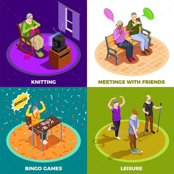 Elderly People Isometric Design Concept - People Characters