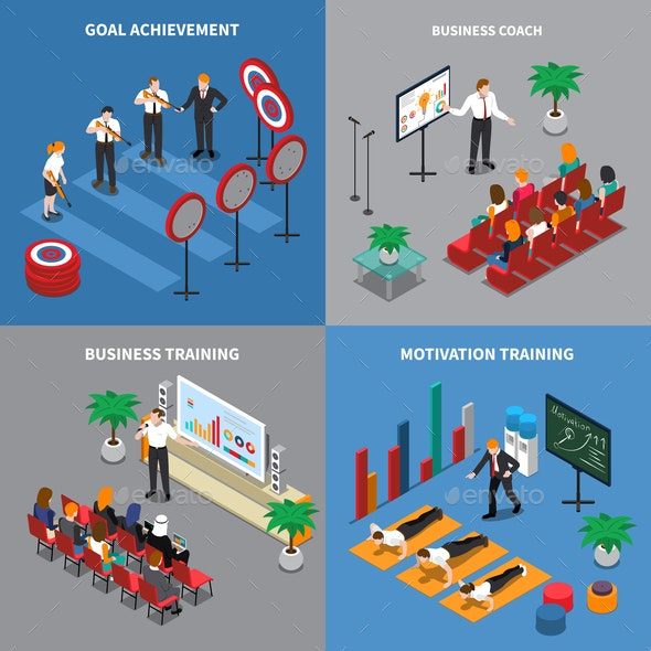 Business Coaching Isometric Concept - Concepts Business