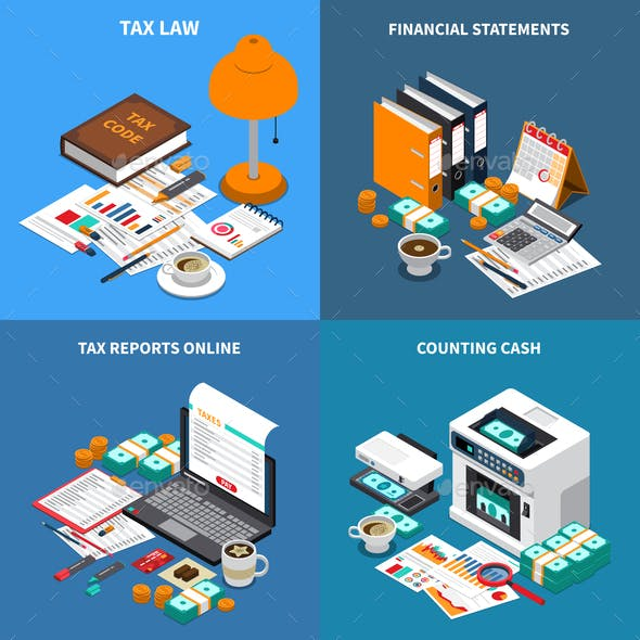 Accounting Tax Isometric Concept