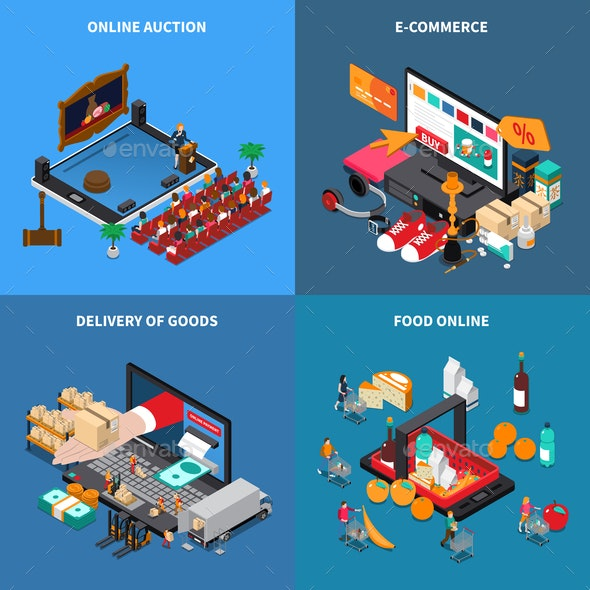 Mobile Shopping Isometric Concept - Web Technology