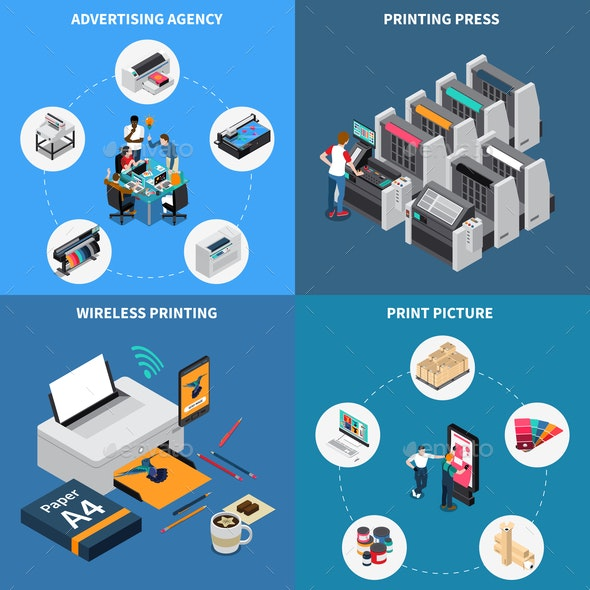 Printing House Isometric Concept - Industries Business