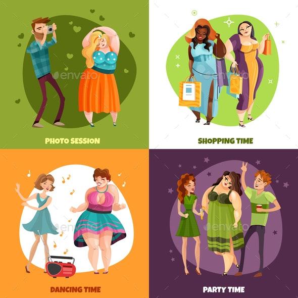 Plus Size Women Design Concept - People Characters