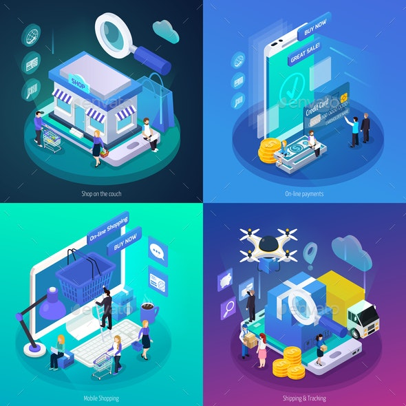 E-Commerce Glow Isometric Concept - Concepts Business