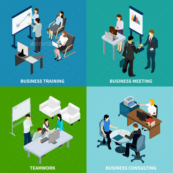 Office Isometric Design Concept - Concepts Business