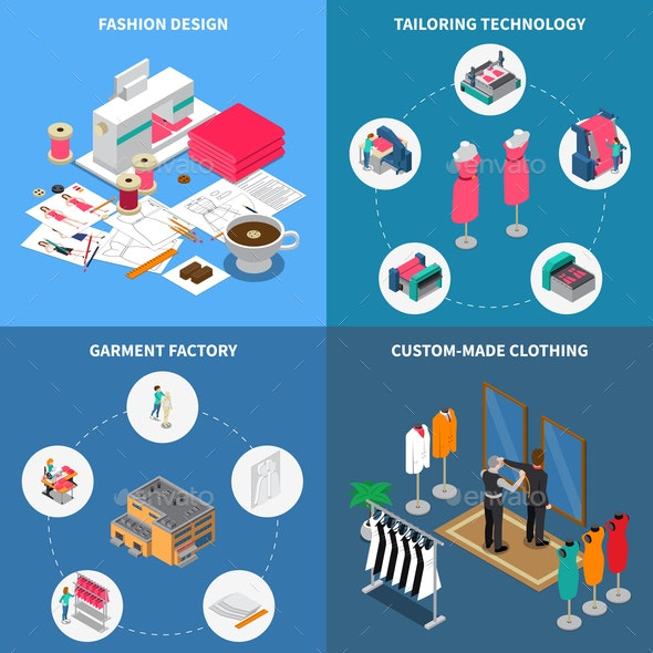Clothes Factory Concept Icons Set - Industries Business