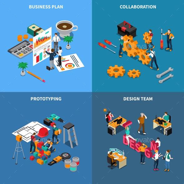 Teamwork Collaboration Concept Icons Set - Concepts Business