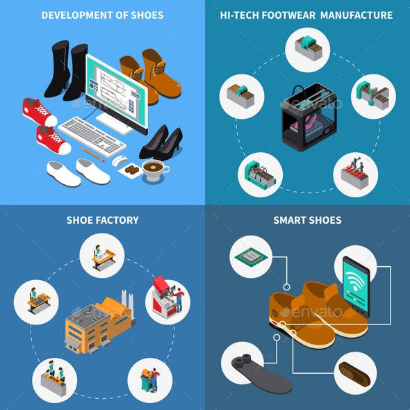 Footwear Factory Concept Icons Set
