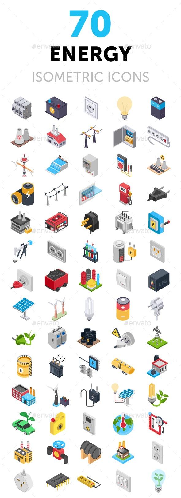 70 Energy Isometric Icons Set - Icons