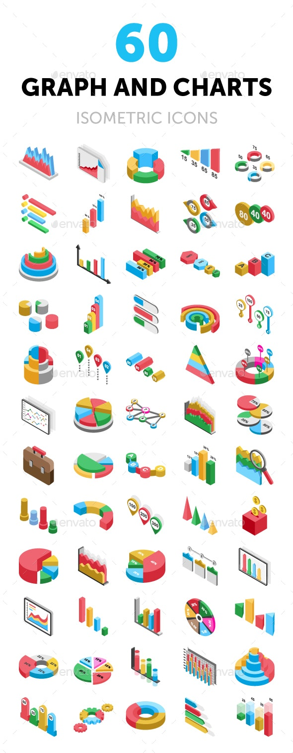 60 Graph and Charts Isometric Icons - Icons
