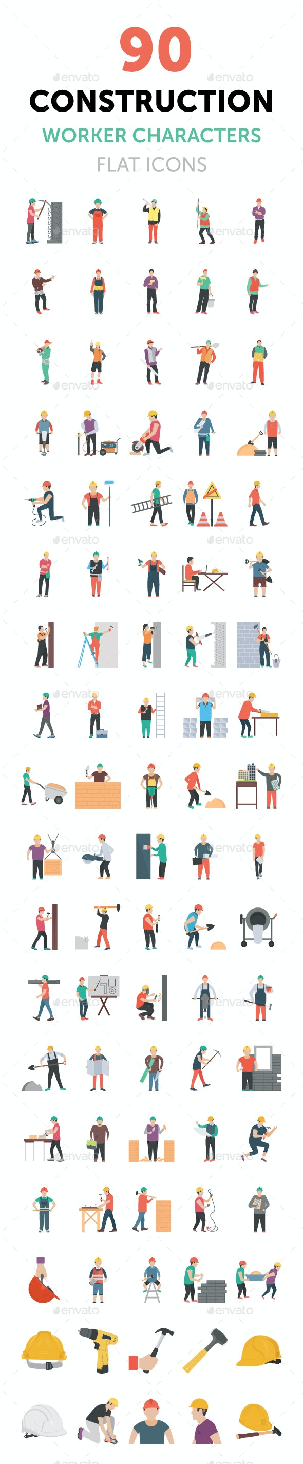 90 Construction Worker Characters - Icons