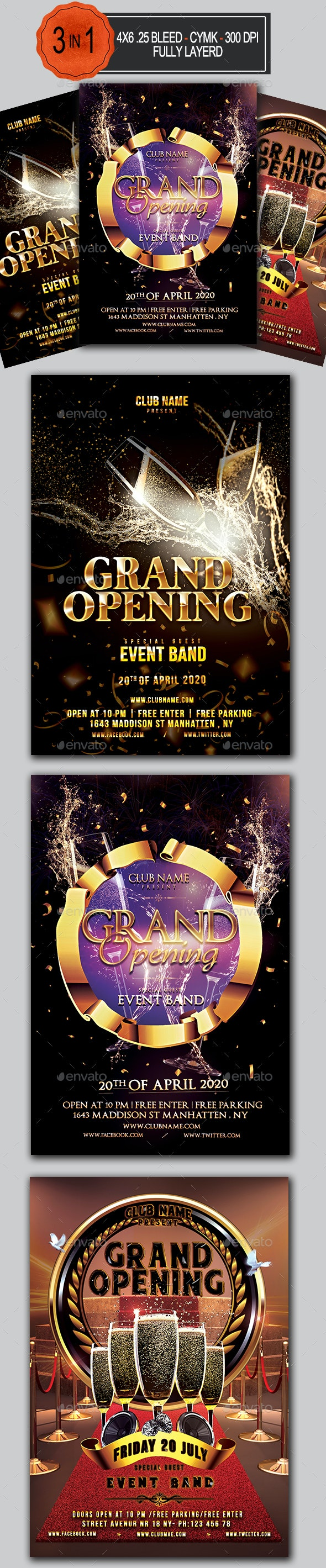 Grand Opening Flyer Bundle - Clubs & Parties Events