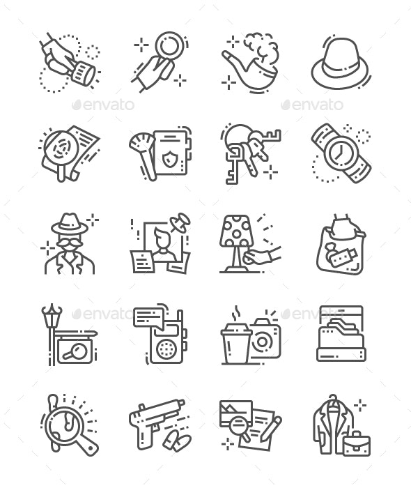 Private Detective Line Icons - Objects Icons