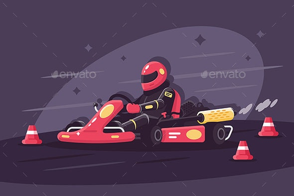 Person in Protective Suit Drives Race Car - Sports/Activity Conceptual