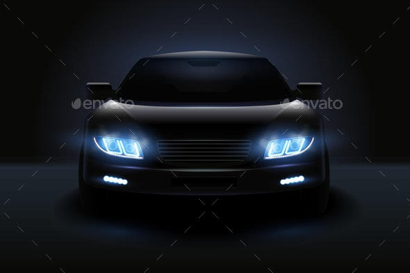 Dimmed Headlights Realistic Composition - Miscellaneous Vectors