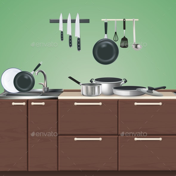 Kitchen Furniture Culinary Utensils Illustration - Backgrounds Decorative
