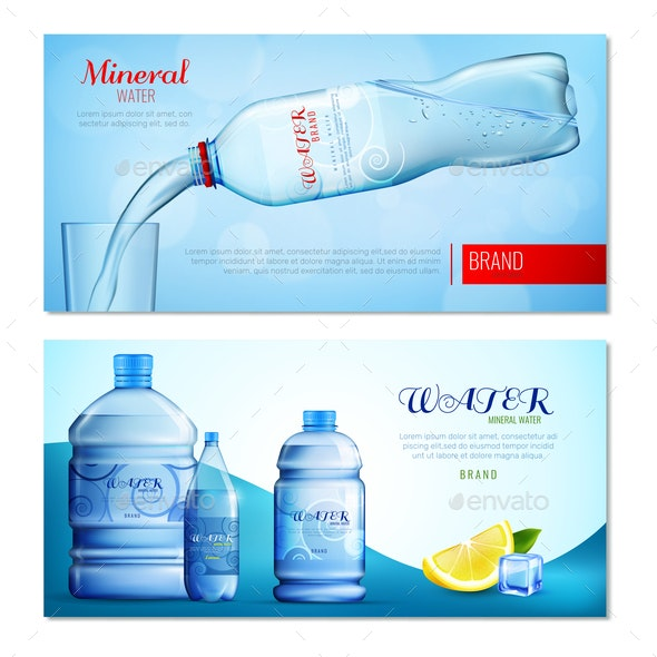 Water in Plastic Bottle Horizontal Banners - Miscellaneous Vectors