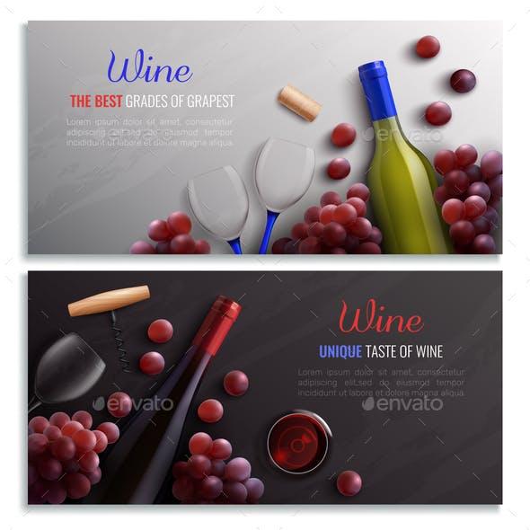 Wine Realistic Horizontal Banners