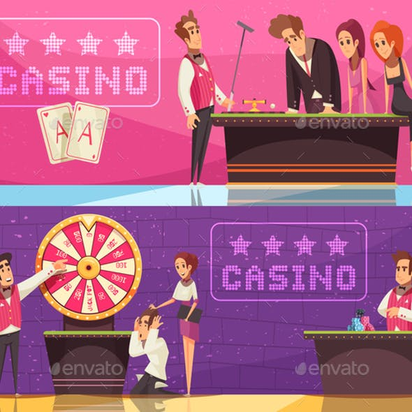Casino Horizontal Banners Set