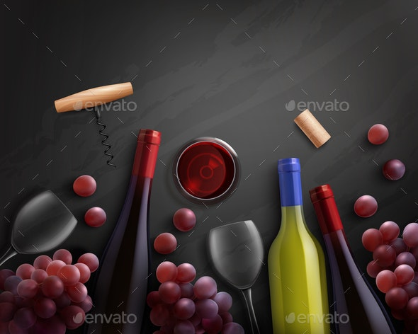 Wine Realistic Composition - Backgrounds Decorative