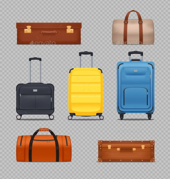 Plastic Luggage and Vintage Suitcases - Travel Conceptual