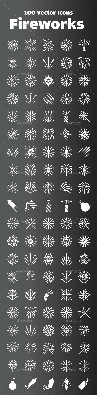100 Fireworks Icon - Icons