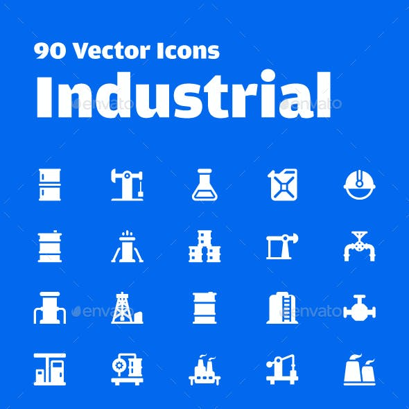 90 Industrial Vector Icons