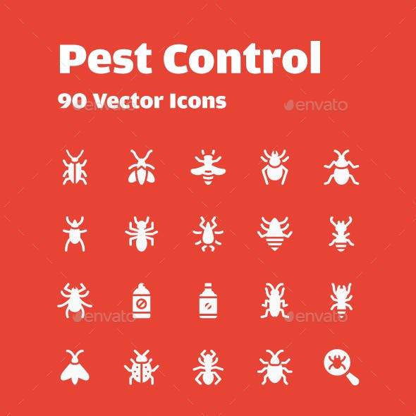 90 Pest Control Vector Icons