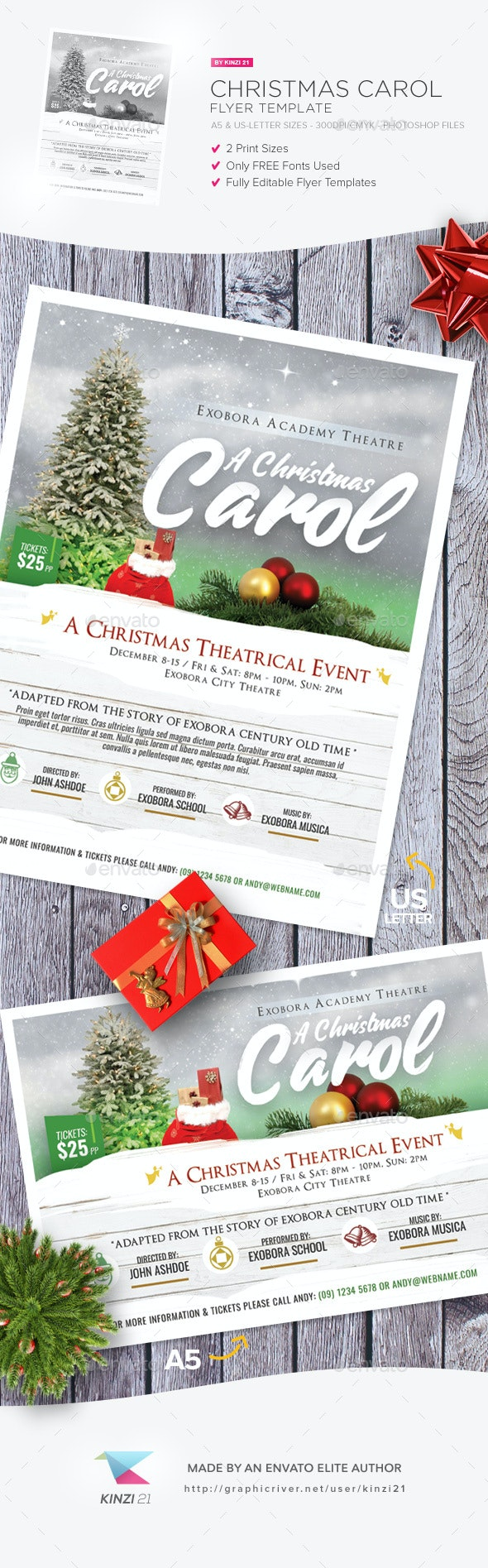 Christmas Carol Flyer Template - Holidays Events