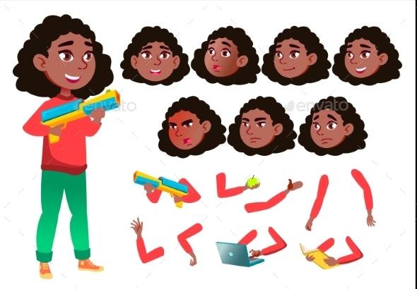 Teen Girl Vector. Teenager. Black. Afro American - People Characters
