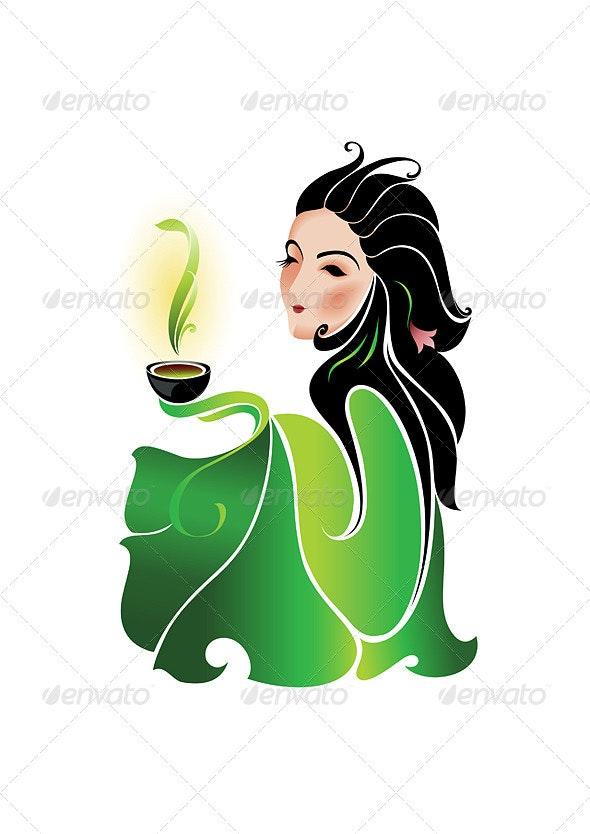 Woman and Green Tea - Characters Vectors