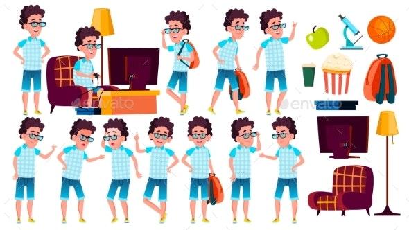 Boy Schoolboy Kid Poses Set Vector. High School - People Characters