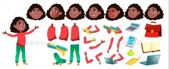 Girl Schoolgirl Kid Vector. Black. Afro American - People Characters
