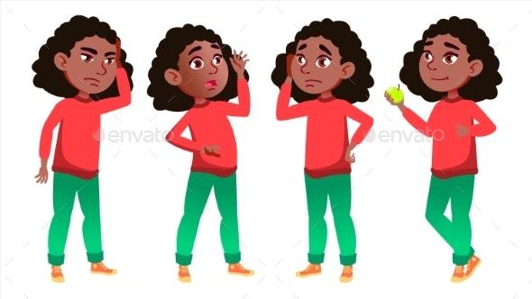Girl Schoolgirl Kid Poses Set Vector. Black. Afro - People Characters